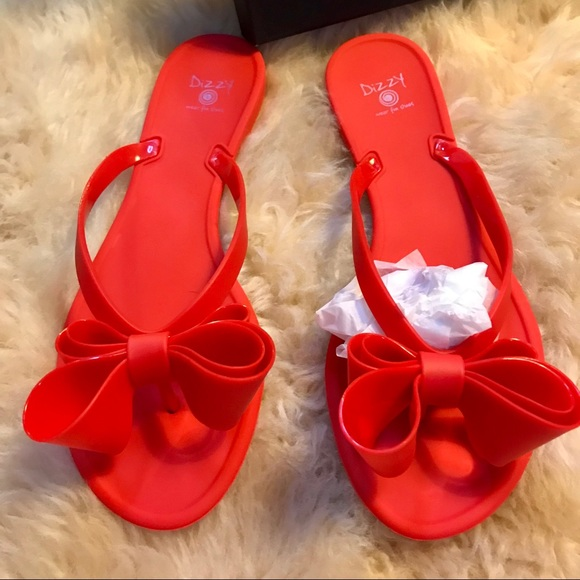 6003c4242464a7 New PVC Dizzy Bow Flip Flops in Matte Red SZ 7.5